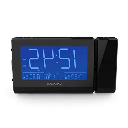 Magnasonic with USB Charging for Smartphones Projection, Auto Gradual Wake Alarm, Backup, Auto Time AM/FM