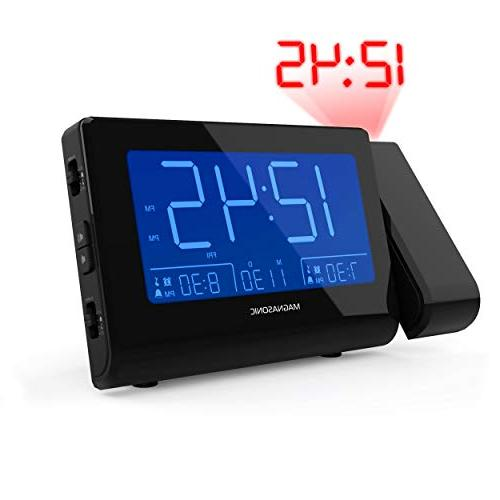 """Magnasonic with USB Smartphones Projection, Dimming, Dual Gradual Wake Backup, Large 4.8"""" AM/FM"""