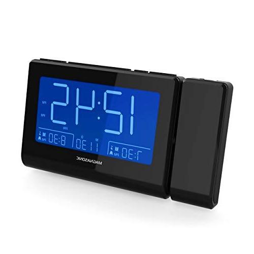 "Magnasonic with Charging Smartphones Projection, Dimming, Gradual Alarm, Backup, Set, Large 4.8"" AM/FM"