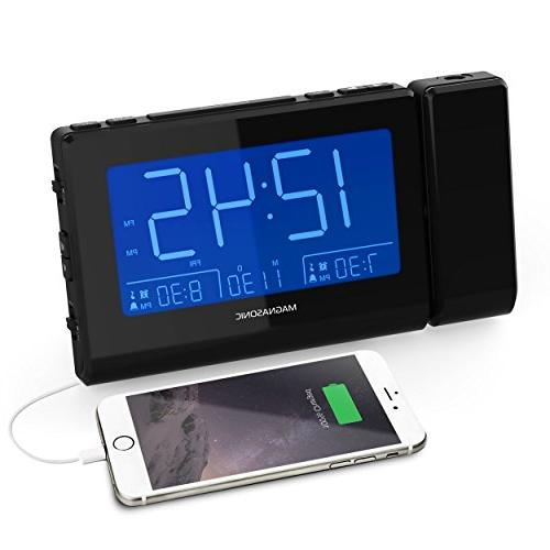 Magnasonic with USB Charging Smartphones & Tablets, Projection, Auto Dual Gradual Wake Alarm, Backup, Auto Time Large AM/FM