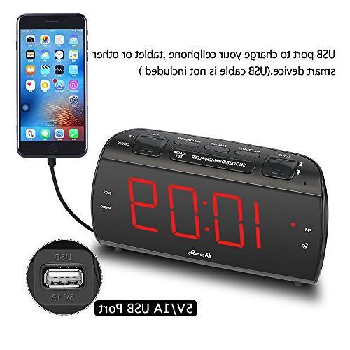 DreamSky Large Alarm Radio with Charging, LED Digit Display with Dimmer, Sleep Timer, Volume, Jack, Powered