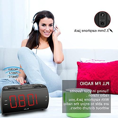 "DreamSky Large Radio FM and Charging, 1.8"" LED Display with Dimmer, Snooze, Sleep Timer, Adjustable Volume, Powered"