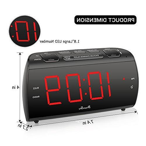 """DreamSky Alarm Radio with and USB Charging, 1.8"""" LED Display Sleep Adjustable Volume, Headphone Jack, Powered"""
