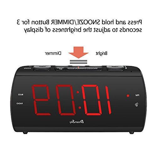 DreamSky Radio and USB Port Charging, Digit Display Snooze, Sleep Timer, Volume, Headphone Powered