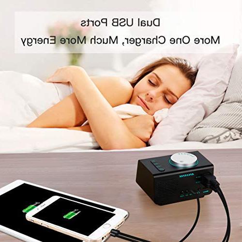 ANJANK Small Alarm Radio with Radio,Dual USB Display,Dual Sounds,5 Brightness Dimmer,Headphone Jack,Bedrooms Sleep