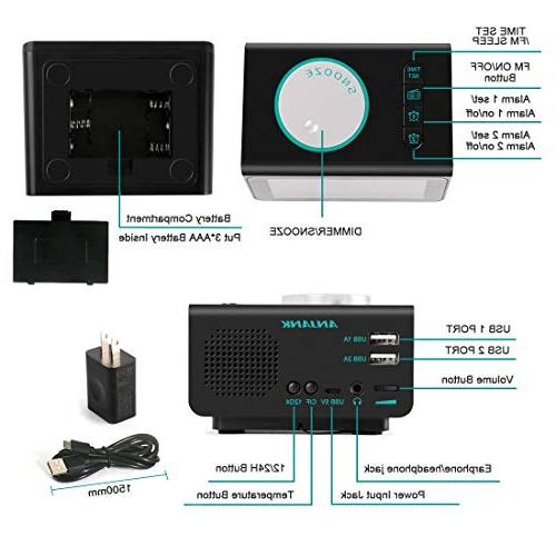 ANJANK Small Alarm Radio FM USB Alarms with Sounds,5 Jack,Bedrooms