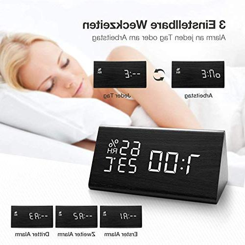 Digital with Wooden Electronic Display, Alarm Settings, Dual & Detect, Bedside Needed