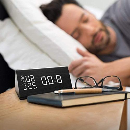 Digital with Wooden Time Display, 3 Alarm Detect, for Bedroom, Bedside no Batteries Needed