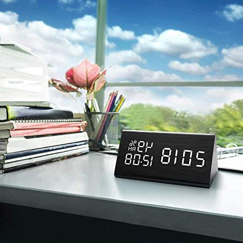 Digital Alarm Wooden Electronic Display, Settings, Dual Temperature Detect, Desk, Bedside Kids,