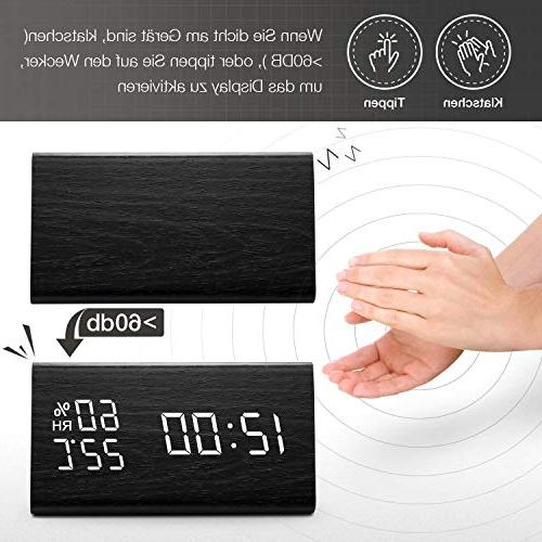 Digital Clock, Wooden Electronic Display, 3 Dual Detect, for Desk, Bedroom, Bedside Kids, no Batteries Needed