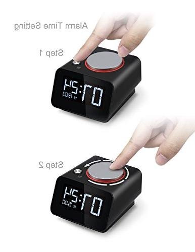 Homtime with Charging Port Alarm Snooze Black