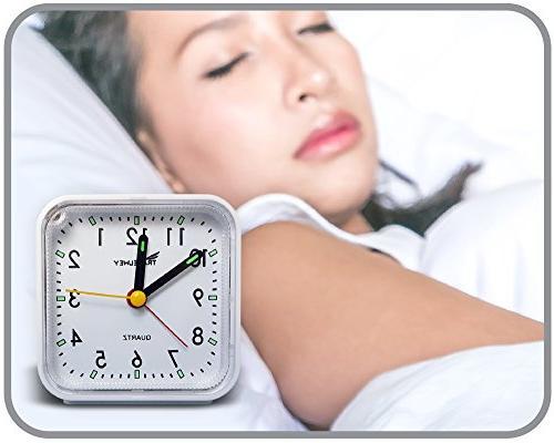 Travel Alarm No Ticking, White