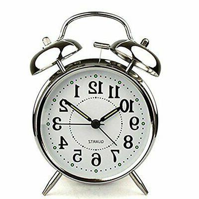 analog twin bell alarm clock quartz silver