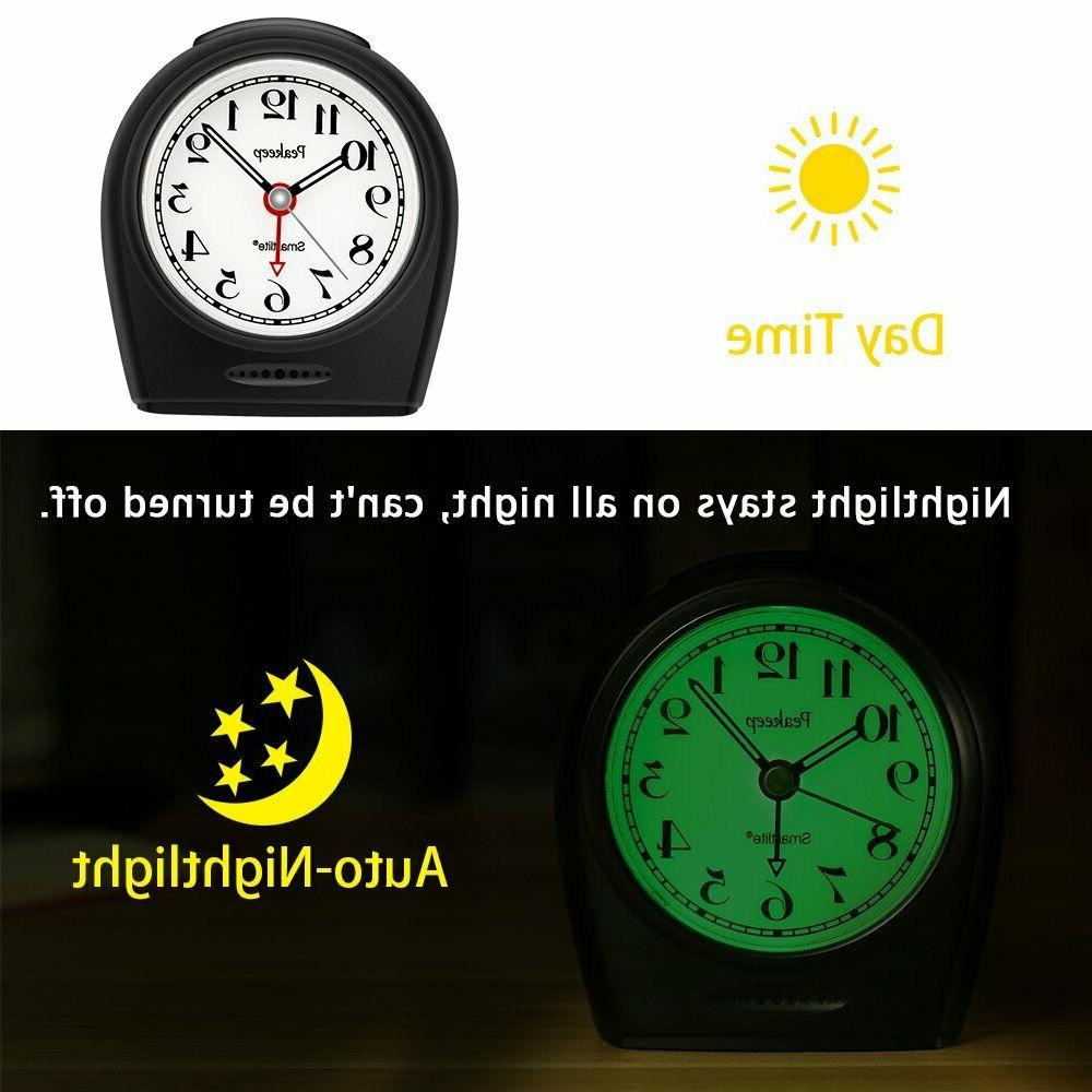 Peakeep Auto Nightlight, Battery Operated No Ticking Analog Clock
