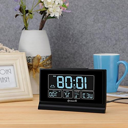 "DreamSky Digital Alarm Clock Charging 6.6"" Screen with Full Range Dimmer, Auto Setting, Snooze, Backup"