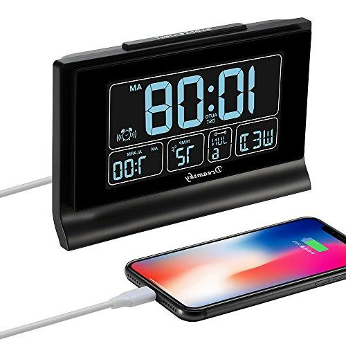 DreamSky Digital Alarm Charging Screen with Full Range Auto Setting, Backup Batteries,12/24Hr.