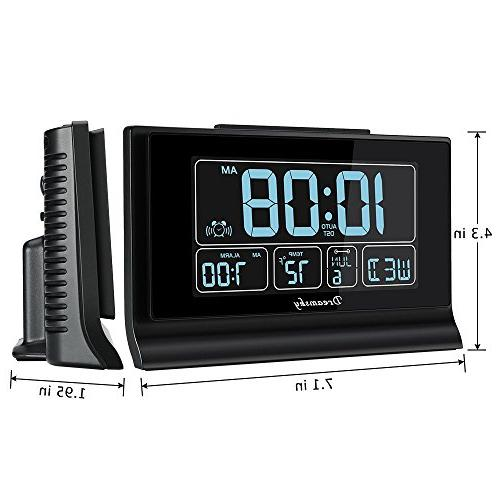 DreamSky Set Digital Alarm Clock Charging Large Screen with Time/Date/Temperature Full Range Auto DST Setting, Backup Batteries,12/24Hr.