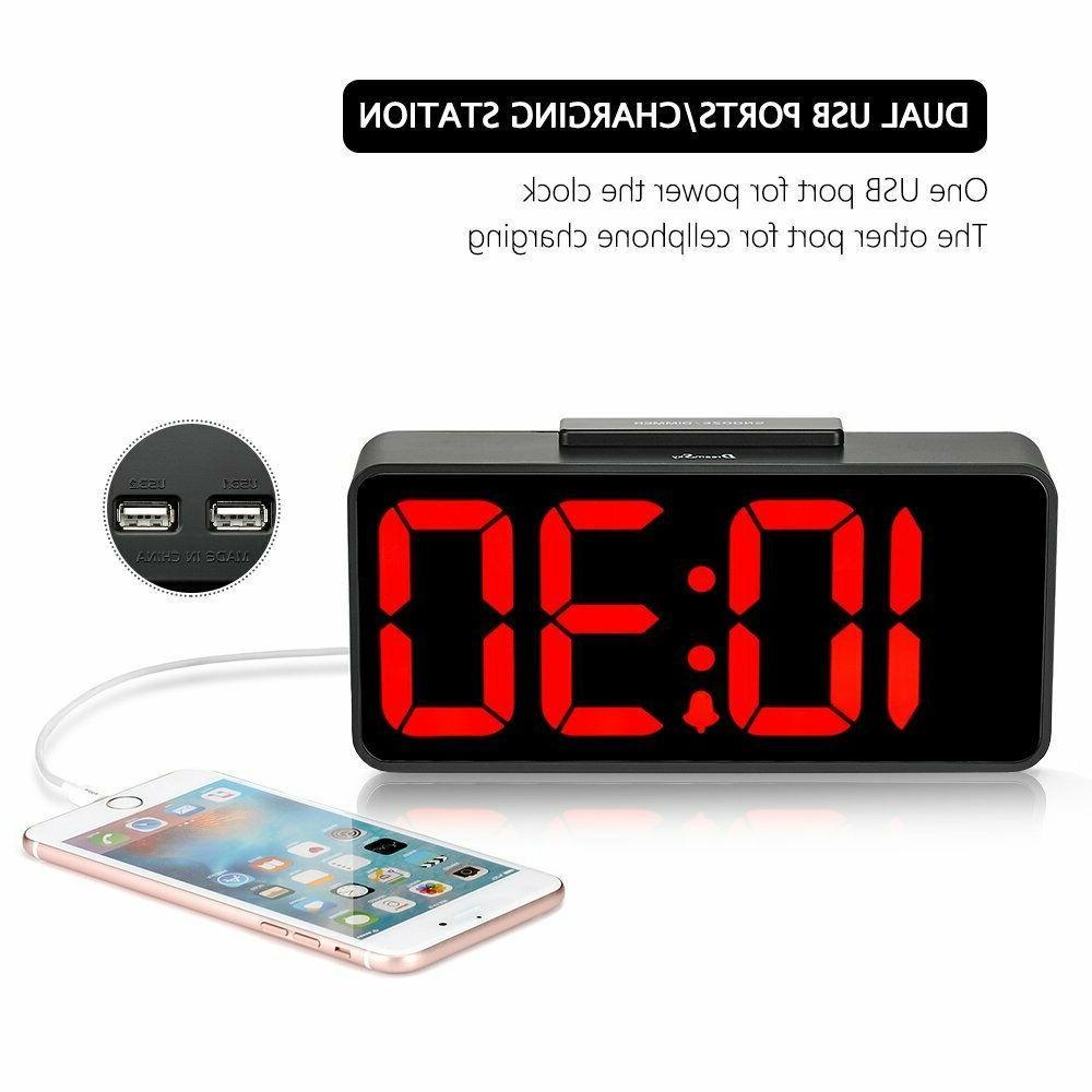 DreamSky Time Alarm Clock USB Port for Charging, Dimmer