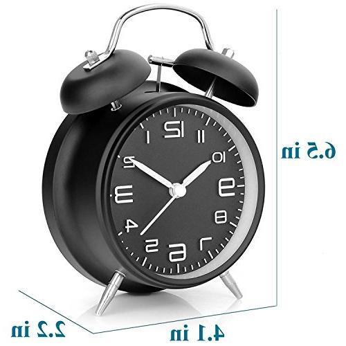 "DreamSky Battery Alarm Clock with Backlight on Demand, 4"" Alarm Clock Heavy Sleeper,3D Display, Ticking, Battery"