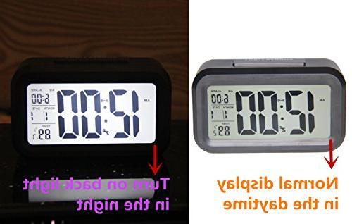 GLOUE Smart Night Light Big Plastic Alarm Clock Battery Travel Alarm Clock,Black