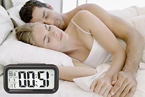 GLOUE Bedroom Clock - Smart Night Light Big Screen Travel Alarm