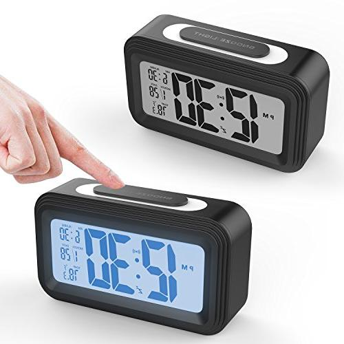Battery Operated Clock, GABONE Electronic LCD Display Clocks Light,Temperature