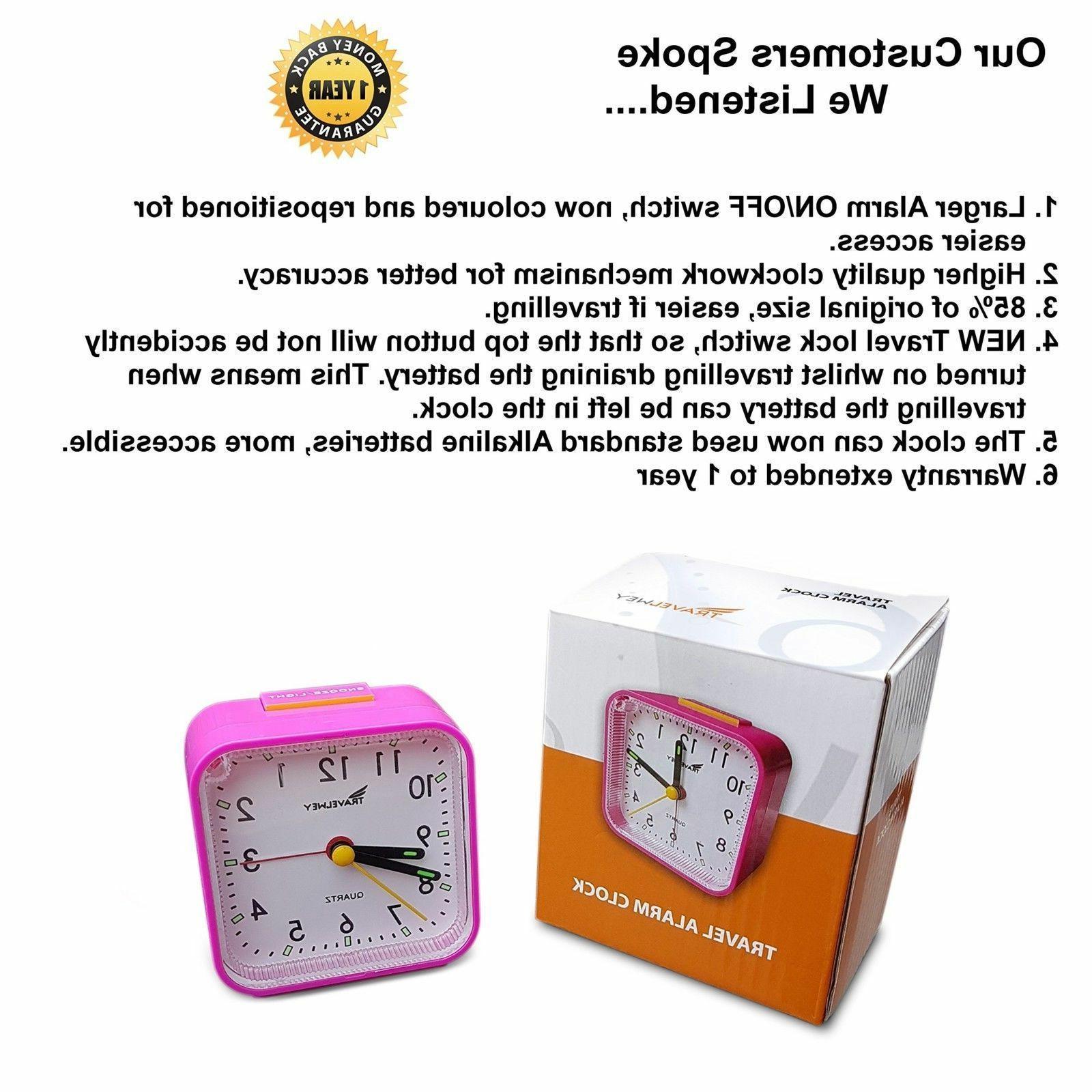 Bedside Travel Alarm Clock Quiet UPGRADED Travelwey