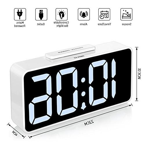 ZHPUAT Digital Alarm Clock with Dimmer Alarm Control Function with USB Charger,Battery Backup