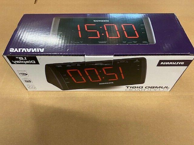 Sylvania Black Jumbo Dual Alarm Clock Radio, Display, USB