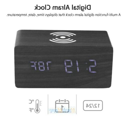 Black Alarm Clock w/ Qi Fast Samung iPhone