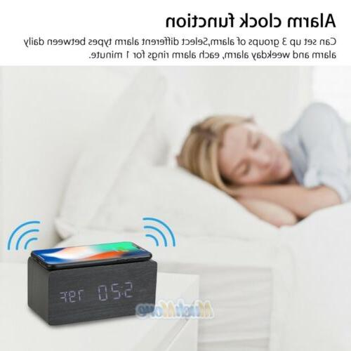 Black Alarm Clock Qi Fast for Samung iPhone