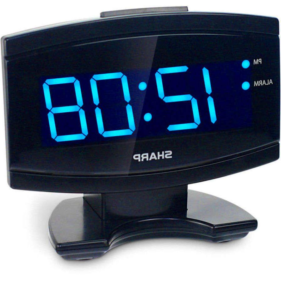 NEW SHARP BLUE LARGE DISPLAY ALARM CLOCK BLACK