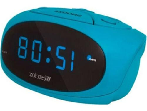 blue led display tabletop electric alarm clock