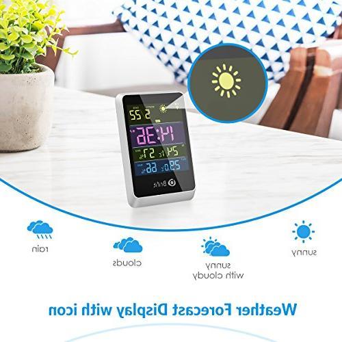 Brifit Wireless Hygrometer Indoor Outdoor Weather Digital Alarm Snooze Function for Home, Bedroom