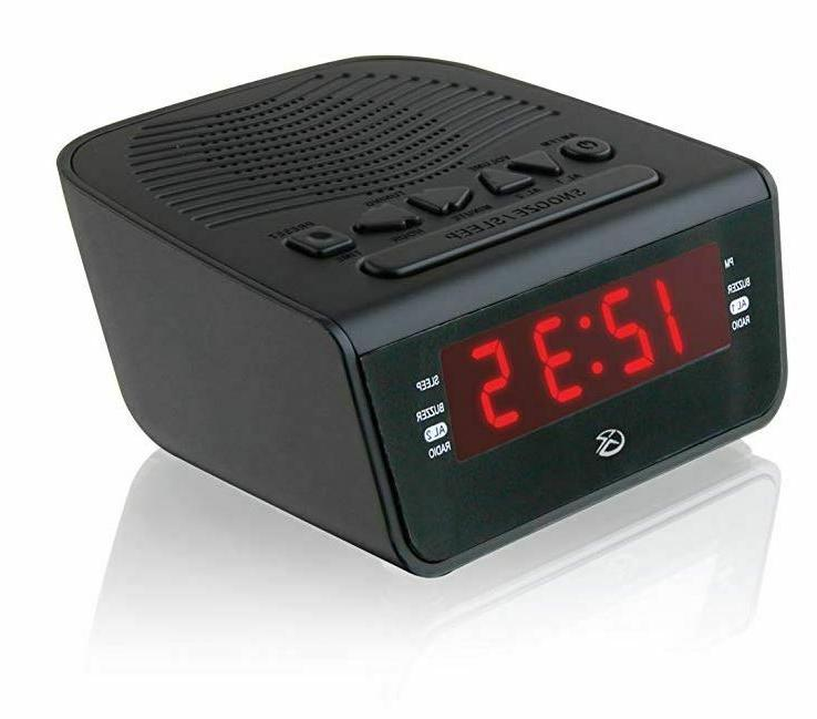 GPX C224B Dual Alarm Clock with Red Black