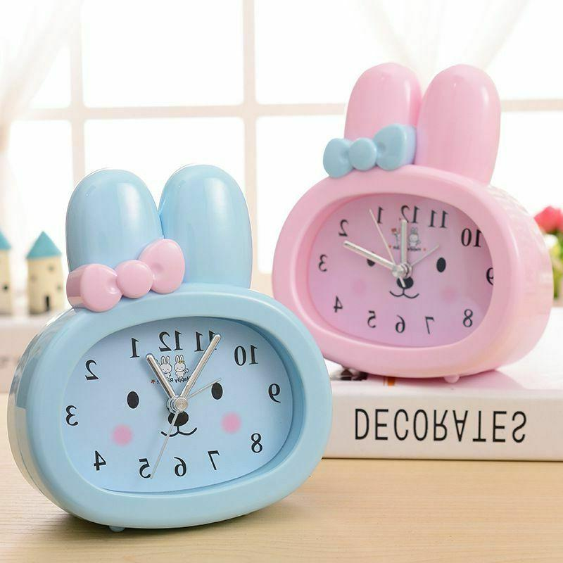 children alarm clock cute rabbit digital desk