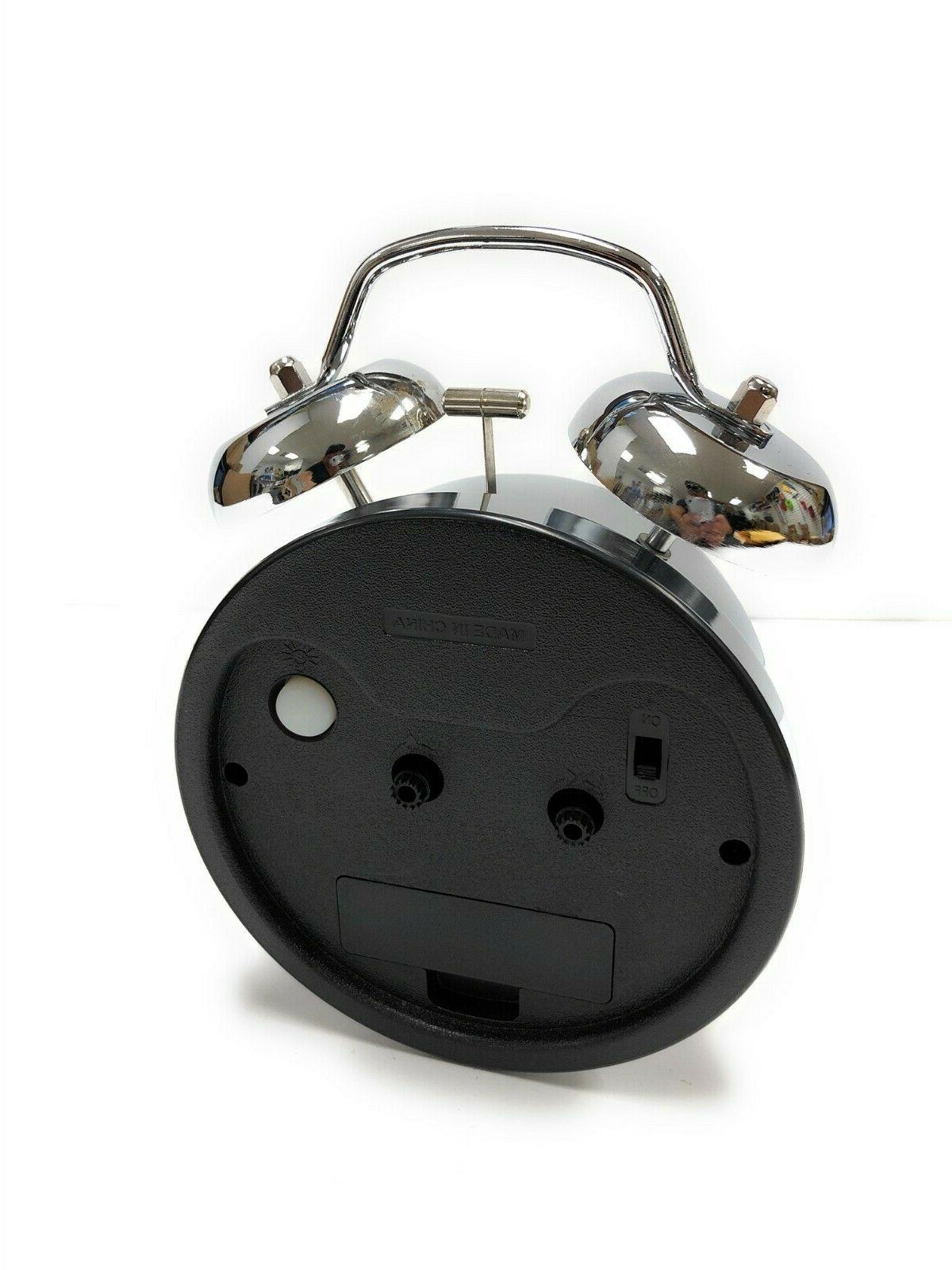 Classic Chrome Loud Analog Alarm Clock Twin Operated