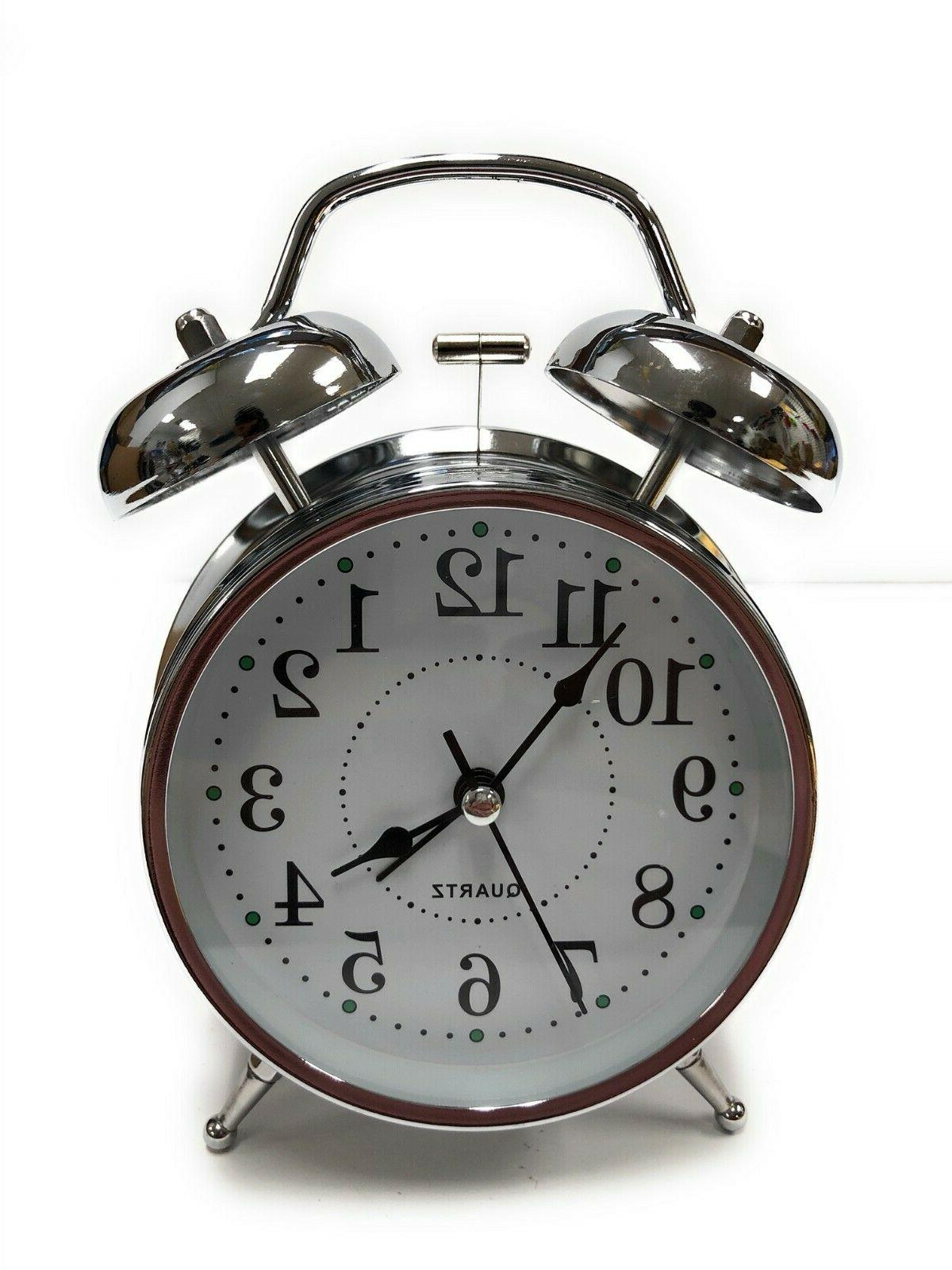 """Classic Chrome Analog Clock 5"""" Twin Bell Operated"""