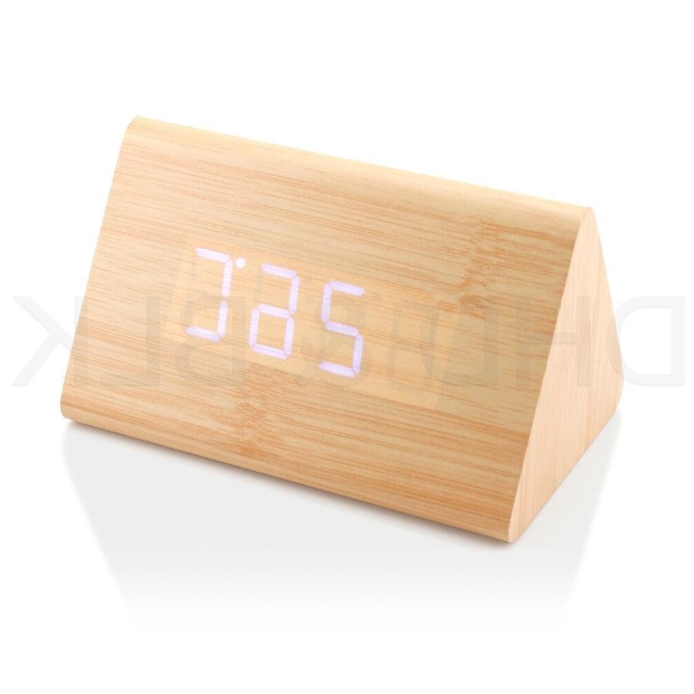Classical Blue Digital LED Wood Wooden Alarm Clock