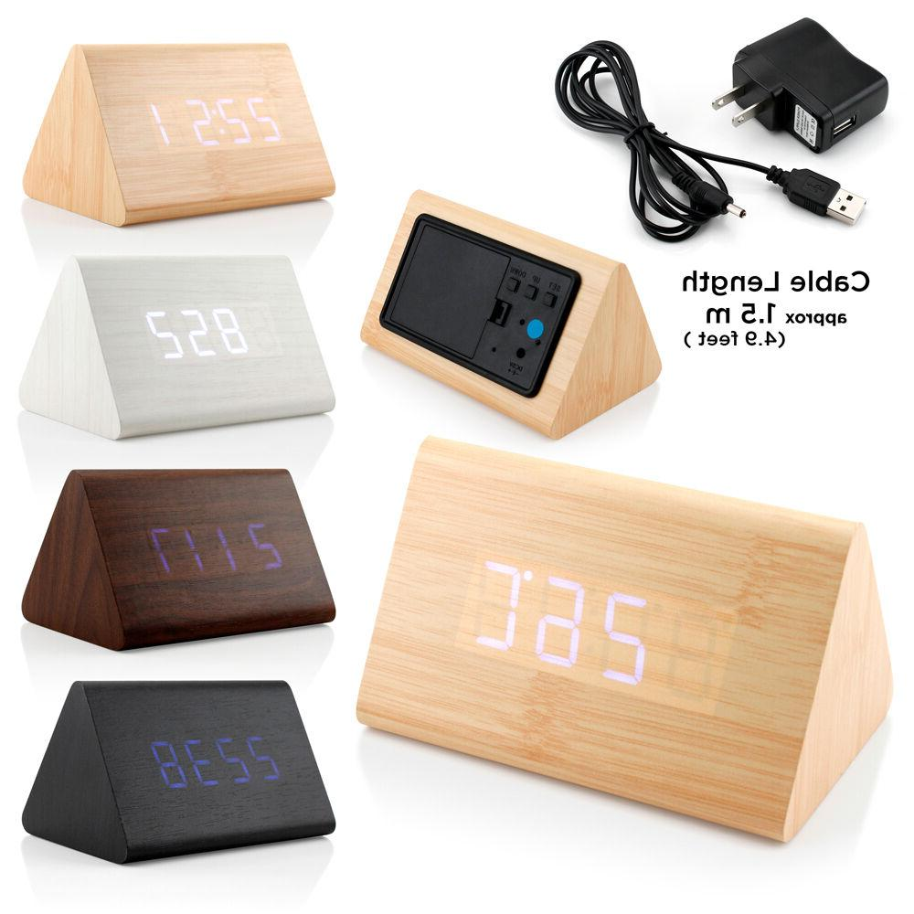 Classical Triangular LED Wood Wooden Alarm Clock Thermometer