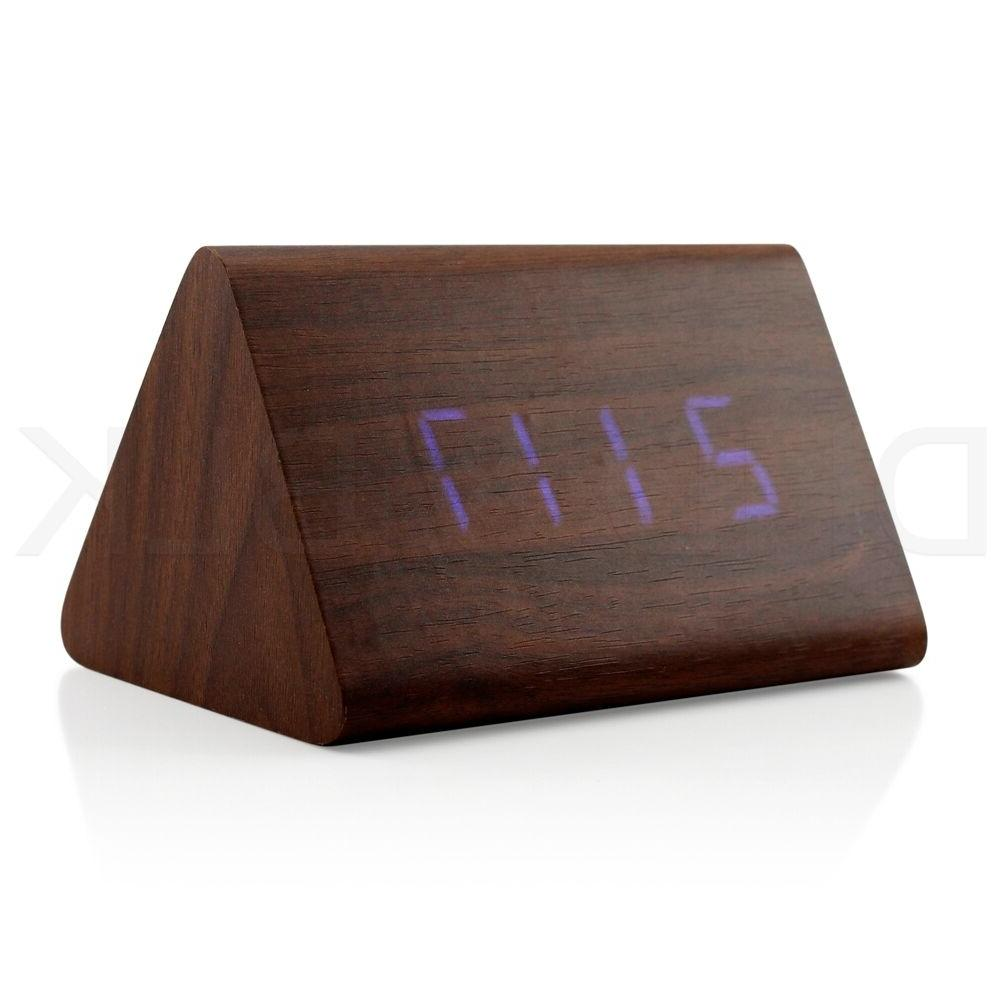 Classical Triangular Digital LED Wood Wooden Alarm