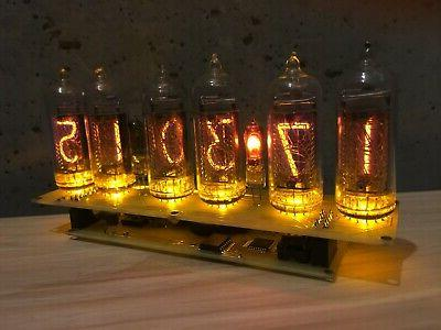 Clock Yellow Tubes Retro No Wooden Box