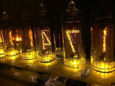 clock nixie in14 6tube yellow tubes vintage