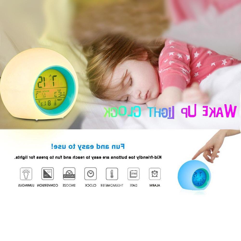 Color Changing LED Digital Control Kids Children Up <font><b>Clock</b></font> Nature Gifts