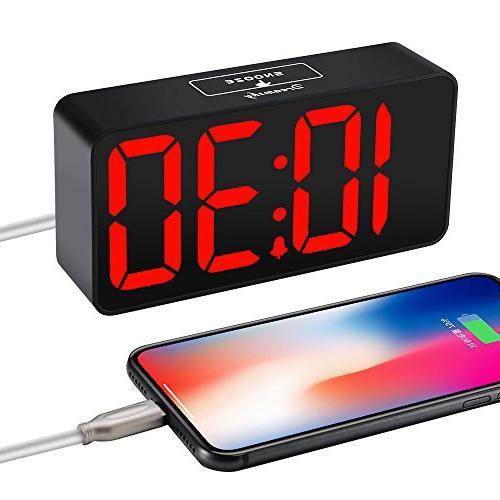 DreamSky Digital Clock USB for Dimmer, 12/24Hr, Snooze, Alarm Volume, Bedside Clocks,