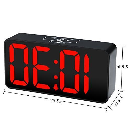 DreamSky Compact Digital Clock for Charging, Dimmer, Bold 12/24Hr, Alarm Volume, Desk Bedside