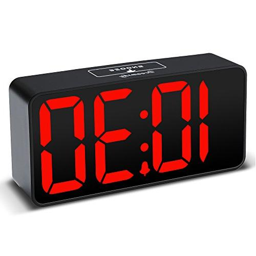 DreamSky Compact Clock with USB for Charging, Dimmer, Digit Display, 12/24Hr, Adjustable Volume, Small Bedside