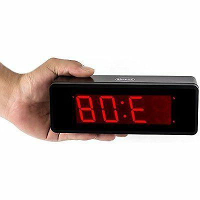 Kwanwa Cordless Desk & Shelf LED Alarm Clock 1.4'' Red
