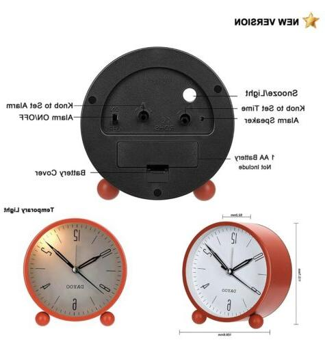 DAYOO Alarm Inch Round Non Ticking with Battery Op...