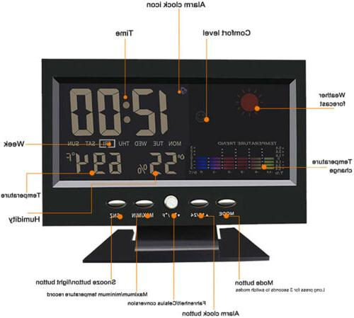 Desk Digital Weather Thermometer Humidity Monitor